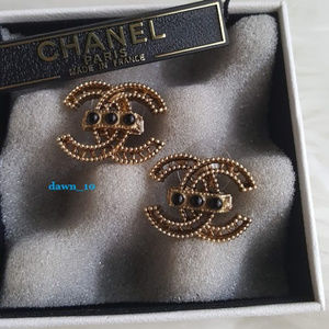 Chanel XL Aged Gold CC earrings